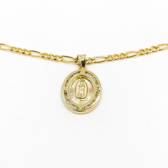Medalla Virgen De Guadalupe Oro 10k .8gr + Cadena De Regalo