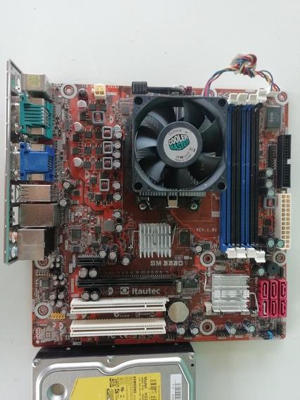 Kit Placa Mãe Sm3330 + Processador + Espelho + Hd