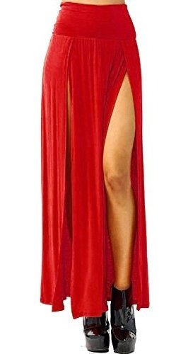 Vivicastle Falda Larga De Punto Abierta De Talle Alto Sexy P
