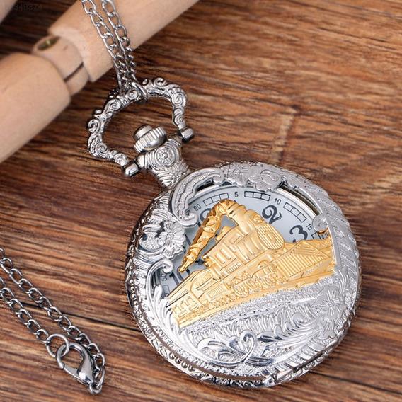 Relógio De Bolso Steampunk Com Corrente Antigo Prata Dourado