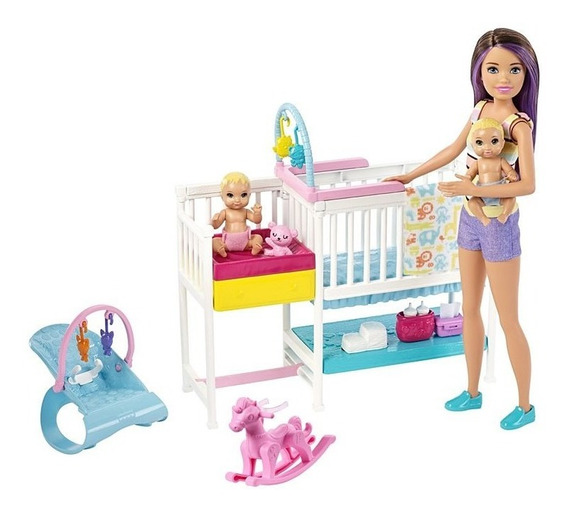 Boneca Barbie Babá Com Bebês Gfl38