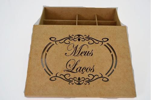 Imagem 1 de 4 de Caixa Porta Laços E Tiara Em Mdf 32x24x8 - 12 Divisões