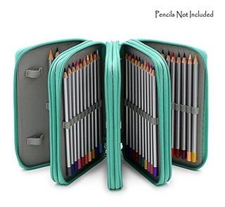 Cartuchera Cuero Pu + 72 Compartimiento Ideal Lápices Colore