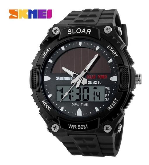 Relógio Solar Skmei Dual Time 50m Luz De Fundo | 4 Cores
