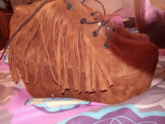 Zapatos Gamuza Flecos Plataforma