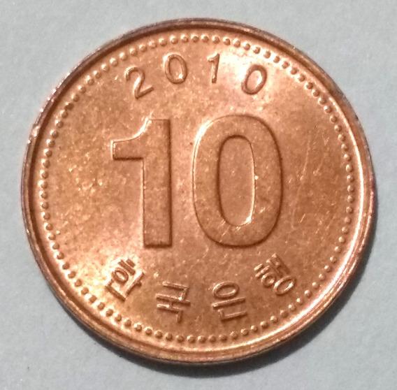 Moneda De Corea Del Sur, 10 Won 2010.