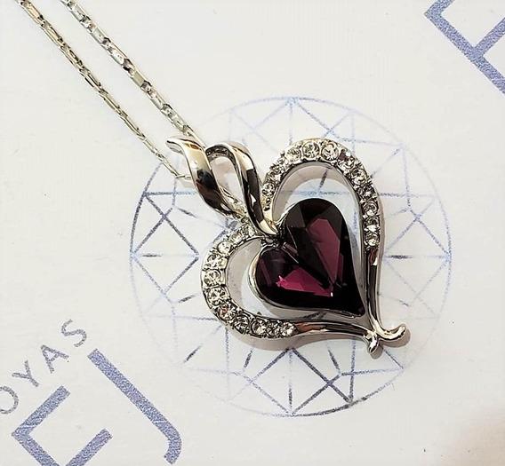 Hermoso Collar Corazón Morado Swarovski Envió Gratis