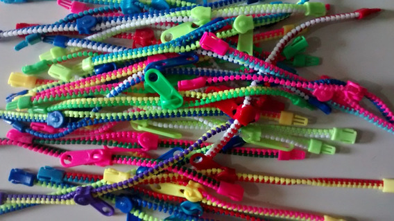 Atacado Revenda 100 Pulseiras Ziper Coloridas Infantil Teen