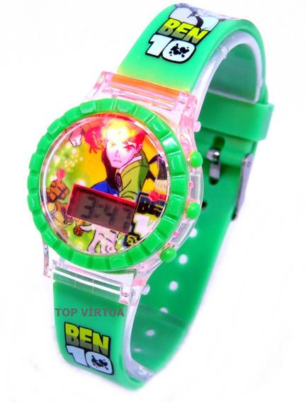 Relógio Do Ben 10 Verde Digital Som E Luzes Infantil C331