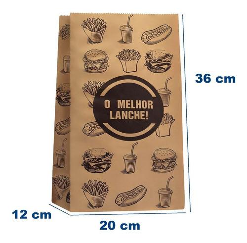 Saco Papel Kraft- G -20x36-impresso Genérico Fast Food 100 U
