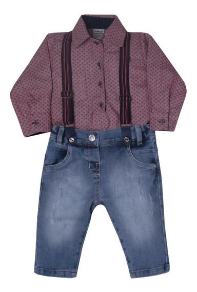 Calca Jeans Camisa Social E Suspensório Sonho Magico