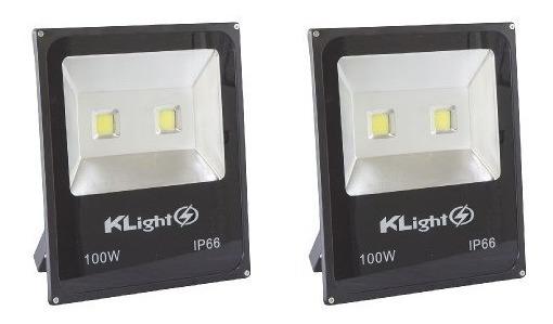 Refletores Led 100w Branco Holofote Bivolt Prova Dágua Kit 2