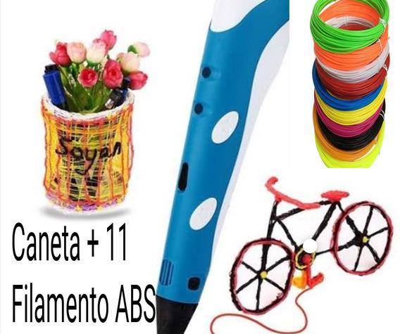 Caneta 3d+6 Filamento Refil Abs Pla Impressora Frete Grátis