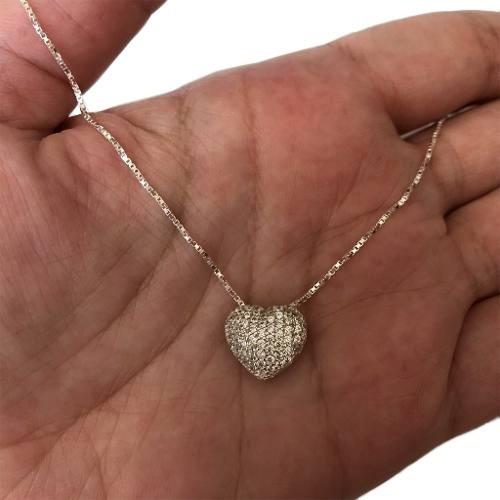 Colar Gargantilha Coração Cravejado Brilhante Prata Legítima