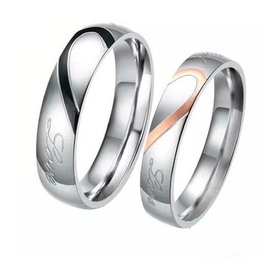 Set Argolla De Matrimonio Diseño Medio Corazón Bt012 Env G.