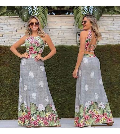 Vestido Longo Lançamento Verão Trançado Delicado Nas Costas