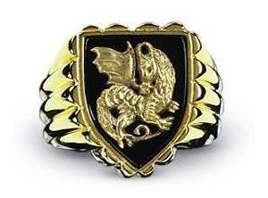 Anillo Pendragon Cabeza Dragon Rey Arturo Inglatera Medieval