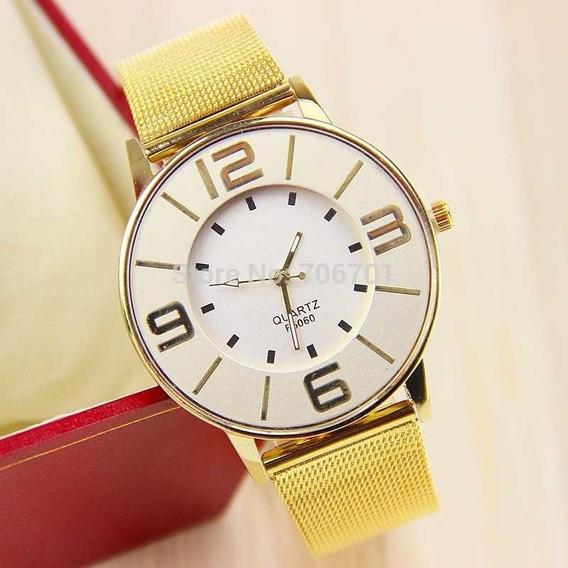 Relógio Dourado Quartz / F5082-sb-490 Unisex