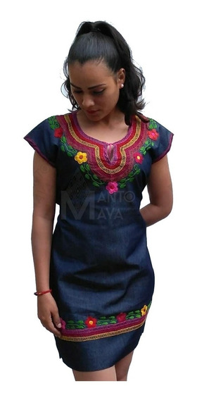 Vestido Artesanal Mexicano Bordado A Mano Típico De Chiapas.