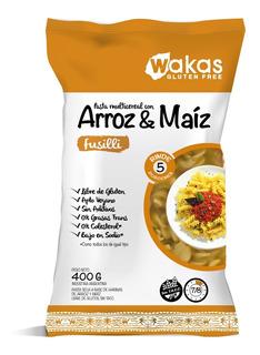 Pastas Fusilli Arroz Y Maiz Gluten Free Wakas 12x400 G.