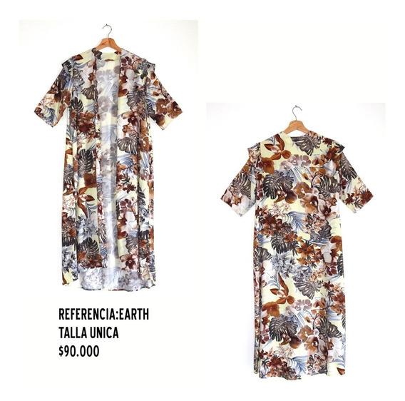 Kimono Largo Estampado Floral