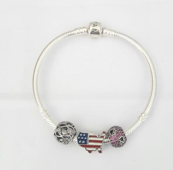 Bracelete E Charms Infinito Mickey E Pavê Minnie Pandora