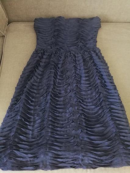 Vestido Strapless Corto Zara Azul Oscuro Poco Uso