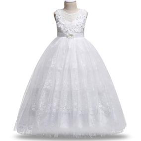 Vestido Infantil Festa Daminha Branco Longo Renda Luxo