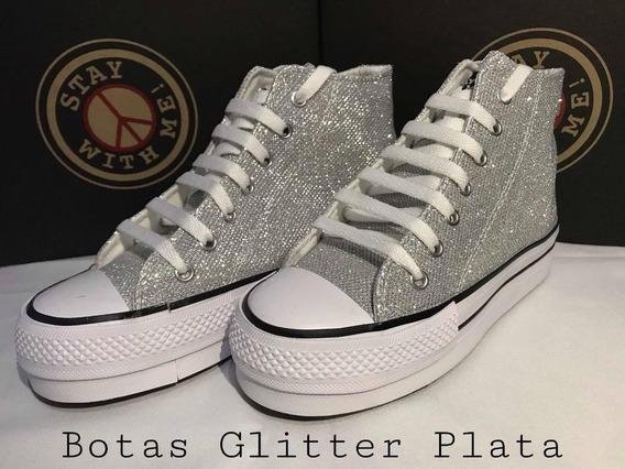 Zapatillas Stay With Me! Botas Con Plataforma Glitter Plata