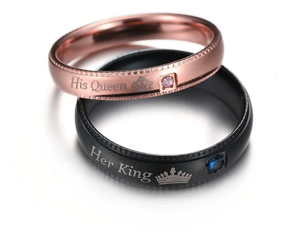 02 Alianças Namoro - His Queen Her King - Preta E Rose Gold