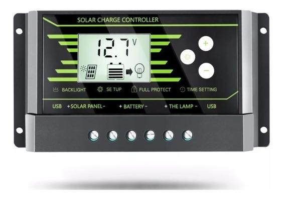 Controlador De Carga Solar 30a 12v / 24v Pwm Com Lcd