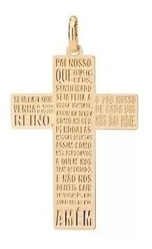 Pingente Folheado A Ouro No Formato De Cruz Com Escrita Pai Nosso - Tam.único 542168