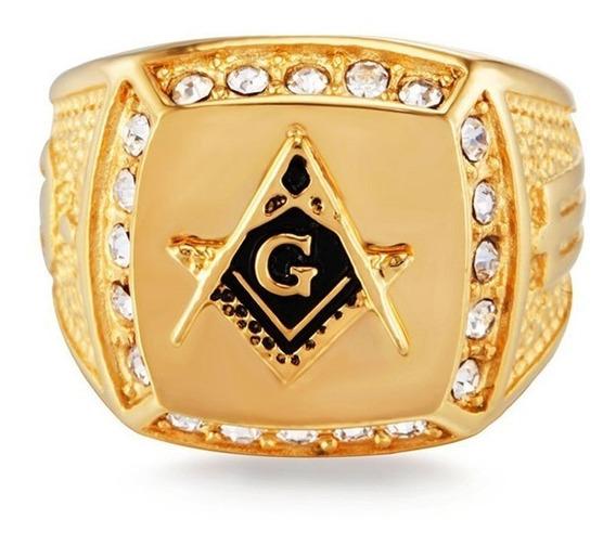 Anillo Masonico Logias Acero Inoxidable Color Oro