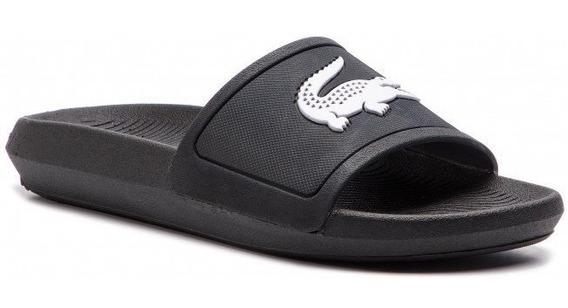 Ojotas Lacoste Mujer Croco Slide 119 3 Negro 312 Blanco 082