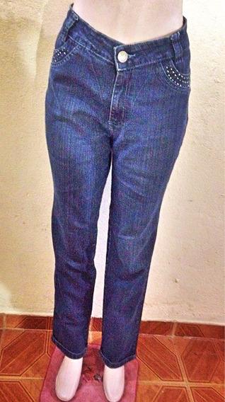 Calça Jeans Lavagem Escura Bordados Aplicações 46