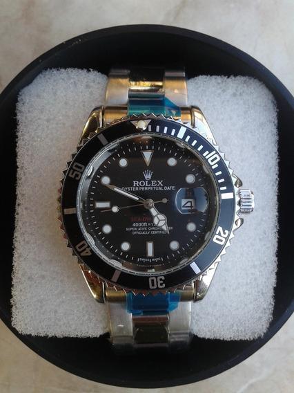 Relogio Masculino Black Submariner Silver Com Caixinha