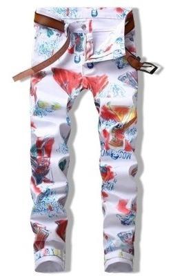 Jeans Cremallera De Impresión De Los Hombres Flacos