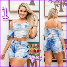 Conjunto Jeans ( Short + Blusa ) Lycra Frete Gratis Ref. 1