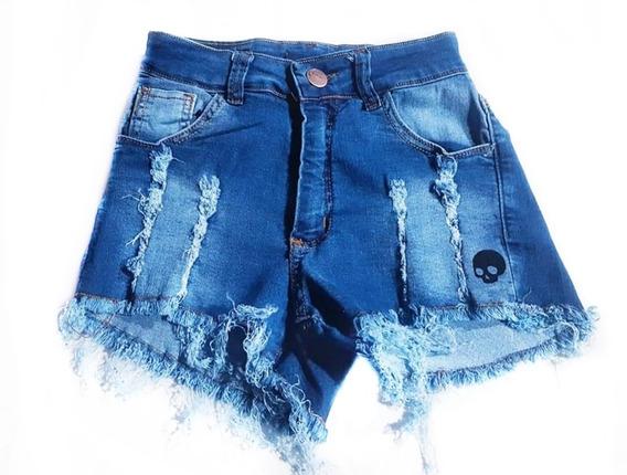 Short Jean Azul Elastizado T.alto Mujer + Remera De Regalo