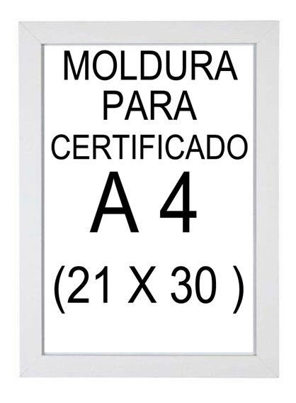 Moldura Para Certificado A4 (21 X 30) Branca Com Vidro