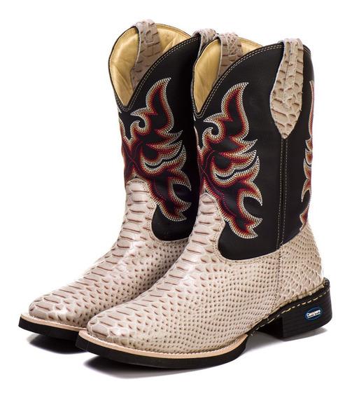 Bota Country Texana Unissex Couro Cobra Anaconda Fret Grátis