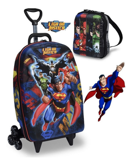 Mochila Masculina Infantil Rodinha Superman Lancheira Maxtoy