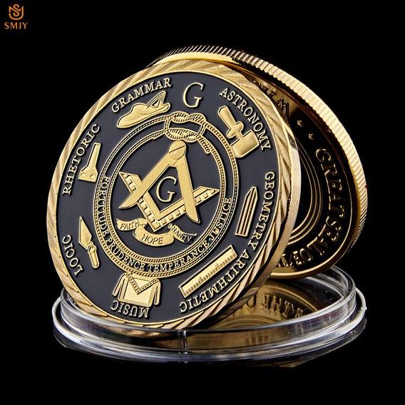 Moeda Banhada Ouro 24k Maçonaria Gold & Black Pronta Entrega