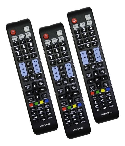 Kit 3 Unidades Controle Universal Lcd Led Remoto Smart Tv