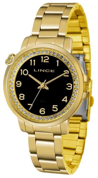 Relogio Lince Feminino Lrg4570l P2kx Dourado Preto Coraçao