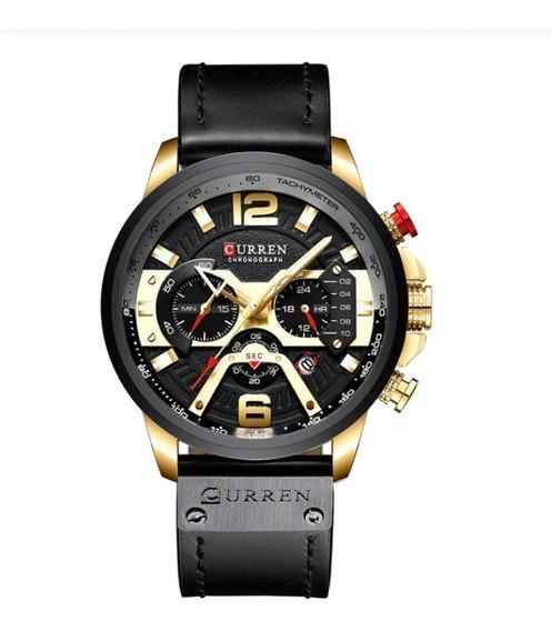 Relógio Masculino Curren Couro Luxo Cronógrafo Promoção Moda