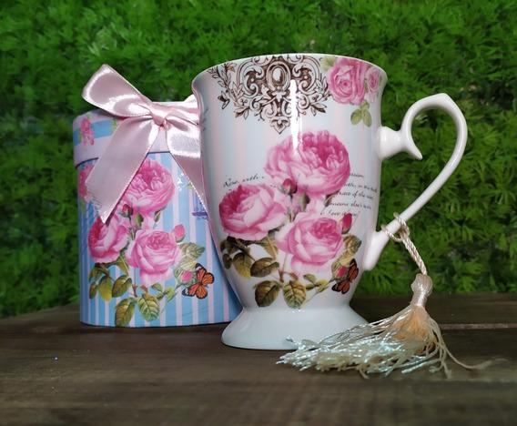 Taza De Porcelana Con Caja Forrada A Juego