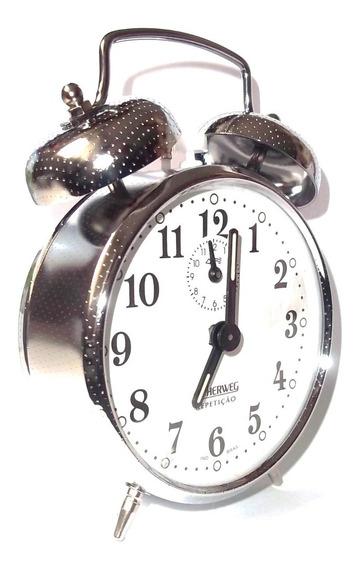 Relógio Despertador Antigo Cordas Cromado Herweg 2370