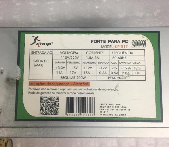 Fonte Knup Model: Kp-517 24pinos Sata 200w Nominal