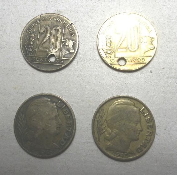Lote De 4 Monedas De 20 Centavos 1943/48/49/ De Argentina